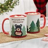 Holiday Bear Family Personalized Coffee Mug 11 oz.- Red - 21263-R