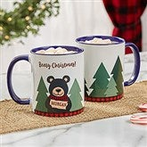 Holiday Bear Family Personalized Coffee Mug 11 oz.- Blue - 21263-BL