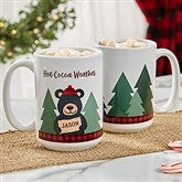 Holiday Bear Family Personalized Coffee Mug 15 oz.- White - 21263-L