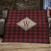 Cozy Cabin Personalized Buffalo Check Woven Throw - 21303-A