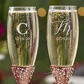 Sparkling Rose Gold Etched Initial Champagne Flute Set - 21340