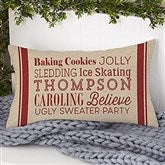 Holiday Traditions Personalized Lumbar Throw Pillow - 21494-LB