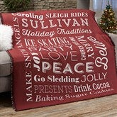 Holiday Traditions Personalized Woven Throw - 21495-A