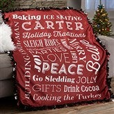 Holiday Traditions Personalized Tie Blanket - 21495-T