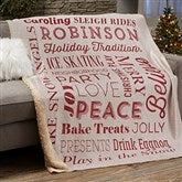 Holiday Traditions Personalized 60x80 Sherpa Blanket - 21495-SL