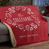 Christmas Wreath Personalized 50x60 Sherpa Blanket - 21531-S