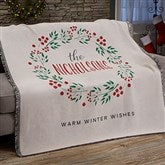 Christmas Wreath Personalized Woven Throw - 21531-A