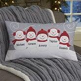 Snowman Family Personalized Lumbar Throw Pillow - 21535-LB