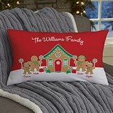 Gingerbread Family Personalized Lumbar Throw Pillow - 21536-LB