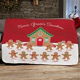 Gingerbread Family Personalized 50x60 Sherpa Blanket - 21538-S