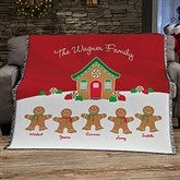 Gingerbread Family Personalized Woven Throw - 21538-A