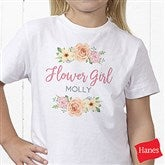 Floral Wreath Flower Girl Personalized Hanes® Youth T-Shirt - 21596-YCT