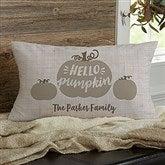 Hello Pumpkin Family Personalized Lumbar Throw Pillow - 21634-LB