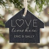 Love Lives Here Engraved Slate Ornament - 21665
