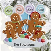 Gingerbread Family Personalized Ornament- 4 Name - 21686-4
