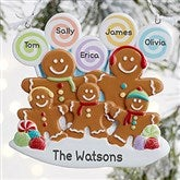 Gingerbread Family Personalized Ornament- 5 Name - 21686-5