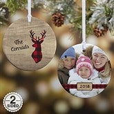 2-Sided Cozy Cabin Personalized Photo Ornament- Small - 21687-2S