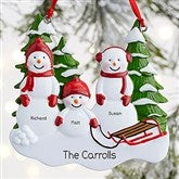 Snowman Family Personalized Ornament- 3 Name - 21701-3
