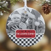 1-Sided Farmhouse Christmas Buffalo Plaid Photo Ornament- Small - 21703-1S
