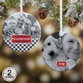 2-Sided Farmhouse Christmas Buffalo Plaid Photo Ornament- Small - 21703-2S