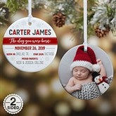 2-Sided The Day You Were Born Personalized Ornament- Small - 21704-2S
