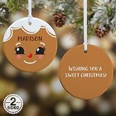 2-Sided Gingerbread Character Personalized Ornament- Small - 21706-2S
