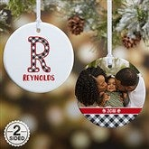 2-Sided Farmhouse Christmas Buffalo Plaid Monogram Photo Ornament- Small - 21708-2S