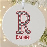 1-Sided Farmhouse Christmas Buffalo Plaid Monogram Ornament- Large - 21708-1L