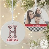 2-Sided Farmhouse Christmas Buffalo Plaid Monogram Photo Ornament- Large - 21708-2L