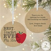 2-Sided Best.Teacher.Ever Personalized Ornament- Large - 21710-2L