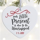 1-Sided Our Little Present Personalized Expecting Ornament- Large - 21718-1L