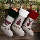 Cozy Cabin Buffalo Check Personalized Burgundy Christmas Stockings - 21844-B