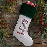 Farmhouse Christmas Personalized Green Christmas Stockings - 21847-G