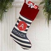 Modern Stripe Personalized Burgundy Christmas Stockings - 21849-B