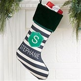 Modern Stripe Personalized Green Christmas Stockings - 21849-G