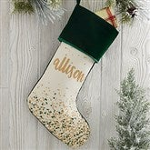 Sparkling Name Personalized Green Christmas Stocking - 21872-G