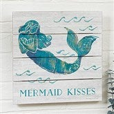 On The Waves Mermaid Personalized Wooden Shiplap Sign- 12'