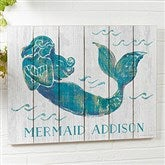 On The Waves Mermaid Personalized Wooden Shiplap Sign- 16