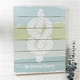 Seaside Swatch Knot Personalized Wooden Shiplap Sign- 16