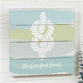 Seaside Swatch Knot Personalized Wooden Shiplap Sign- 12'