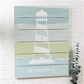 Seaside Swatch Lighthouse Personalized Wooden Shiplap Sign- 16