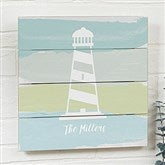 Seaside Swatch Lighthouse Personalized Wooden Shiplap Sign- 12'