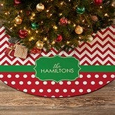 Preppy Chic Personalized Christmas Tree Skirt - 21944