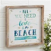 Love and the Beach Personalized Barnwood Frame Wall Art- 12