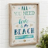Love and the Beach Personalized Barnwood Frame Wall Art- 14