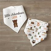 Woodland Adventure Bear Personalized Bandana Bibs- Set of 2 - 21985-B