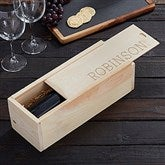 Family Name Established Engraved Wood Wine Box - 21999