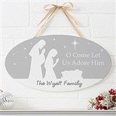 Let Us Adore Him Personalized Oval Wood Sign - 22083
