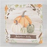 Autumn Pumpkins Light Wash Personalized Canvas Print- 16