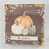 Autumn Pumpkins Dark Personalized Canvas Print- 16